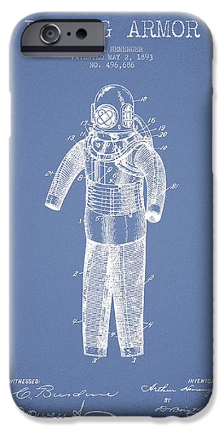 Diver iPhone Cases - Diving Armor Patent Drawing from 1893 - Light Blue iPhone Case by Aged Pixel