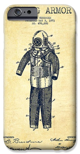 Diver iPhone Cases - Diving Armor Patent Drawing from 1893 - Vintage iPhone Case by Aged Pixel