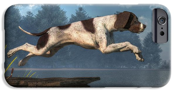 Dog Running. iPhone Cases - Diving Dog iPhone Case by Daniel Eskridge