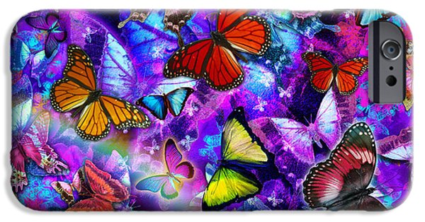 Abstract Digital Photographs iPhone Cases - Dizzy Colored Butterfly Explosion iPhone Case by Alixandra Mullins