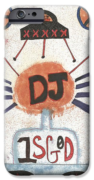 Circuit Drawings iPhone Cases - DJ is God Pop Graffiti iPhone Case by Edward X