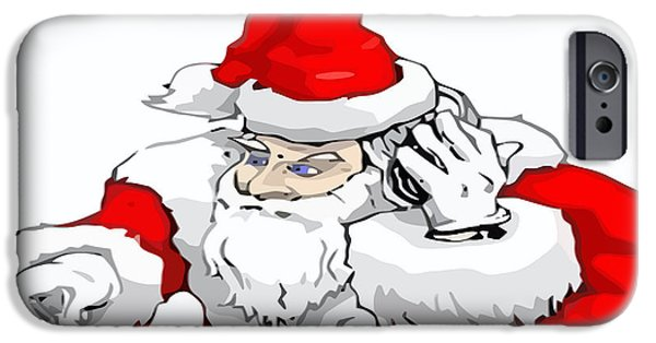 Disc iPhone Cases - DJ Santa Claus Mixing The Christmas Party Track  iPhone Case by Tracey Harrington-Simpson
