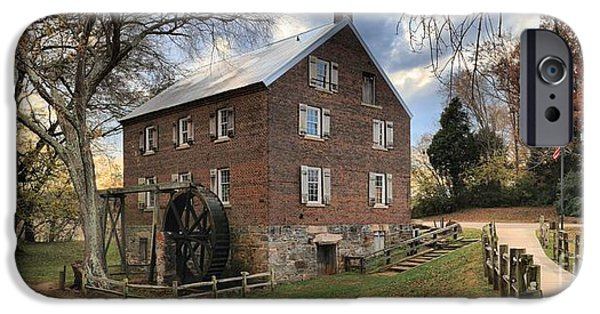 Grist Mill iPhone Cases - Sloan Park Kerr Grist Mill Panorama iPhone Case by Adam Jewell