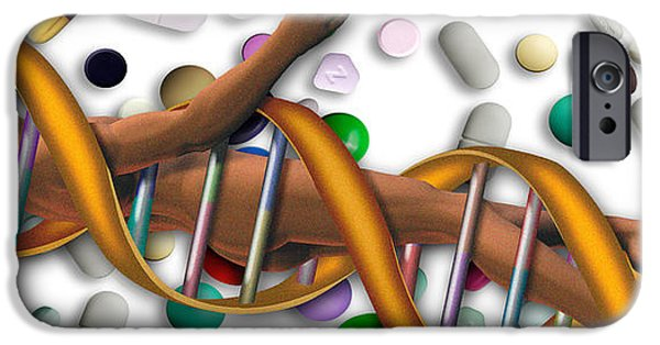Healthcare And Medicine iPhone Cases - Dna Surrounded By Pills iPhone Case by Panoramic Images