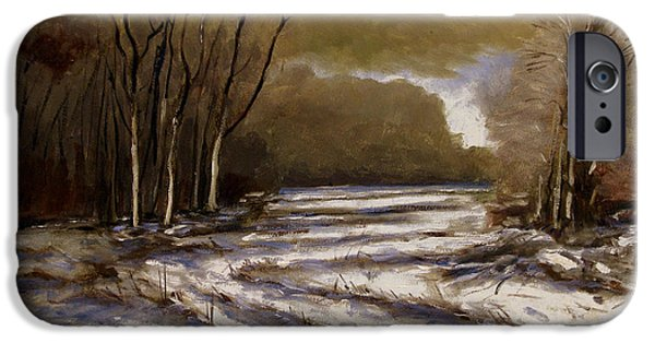 Snowscape Paintings iPhone Cases - D N R Service Road Closed retouch iPhone Case by Charlie Spear