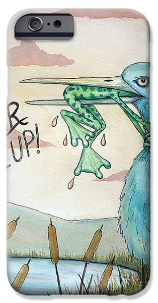 Heron Paintings iPhone Cases - Do Not Ever Give Up iPhone Case by Joey Nash