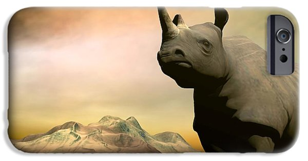 Rhinocerus Digital iPhone Cases - Do you really want to hurt me iPhone Case by Sipo Liimatainen