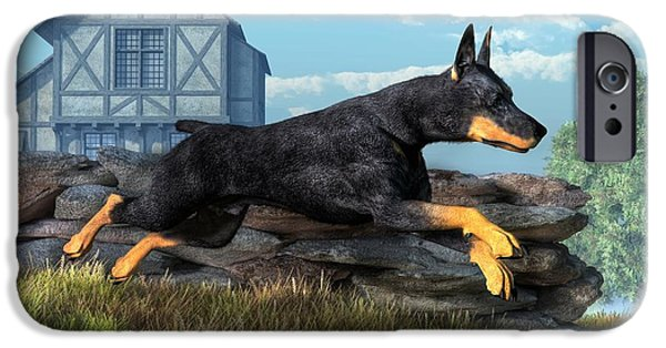 Police Dog iPhone Cases - Doberman iPhone Case by Daniel Eskridge