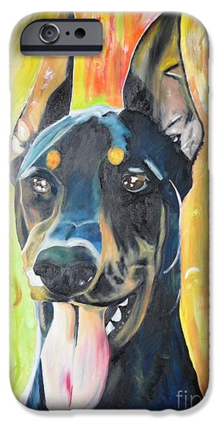 Painterartistfin iPhone Cases - Doberman iPhone Case by PainterArtist FIN