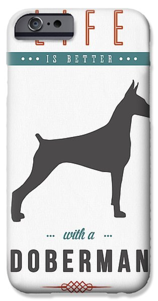 Doberman iPhone Cases - Doberman Pinscher 01 iPhone Case by Aged Pixel