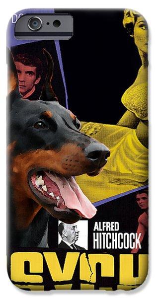Doberman Pinscher iPhone Cases - Doberman Pinscher Art Canvas Print - Psycho Movie Poster iPhone Case by Sandra Sij