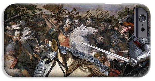 Doberman Pinscher iPhone Cases - Doberman Pinscher Art Canvas Print - Swords and glory  iPhone Case by Sandra Sij