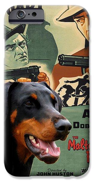 Doberman Pinscher iPhone Cases - Doberman Pinscher Art Canvas Print - The Maltese Falcon Movie Poster iPhone Case by Sandra Sij