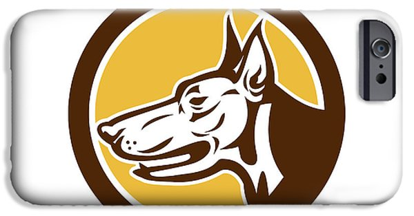 Police Dog iPhone Cases - Doberman Pinscher Head Circle Retro iPhone Case by Aloysius Patrimonio