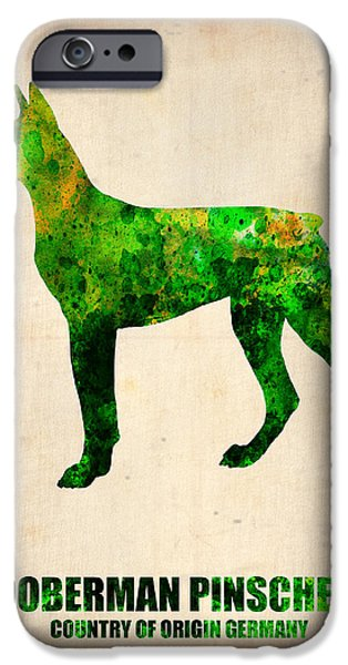 Puppy Digital Art iPhone Cases - Doberman Pinscher Poster iPhone Case by Naxart Studio