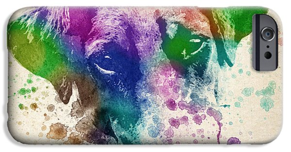 Dogs Digital Art iPhone Cases - Doberman Splash iPhone Case by Aged Pixel