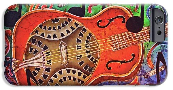 Celebrities Tapestries - Textiles iPhone Cases - Dobro-Slide Guitar-2 iPhone Case by Sue Duda