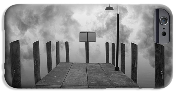 Dave Digital Art iPhone Cases - Dock and Clouds iPhone Case by David Gordon