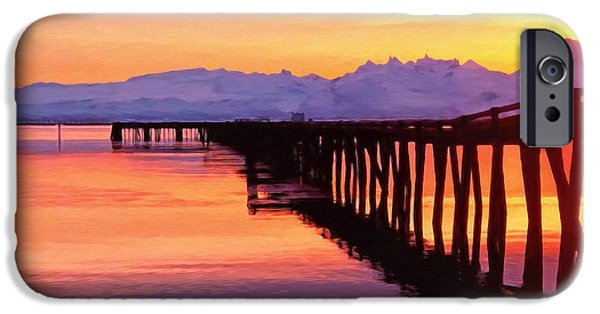 Sunset iPhone Cases - Dock at Cold Bay iPhone Case by Michael Pickett