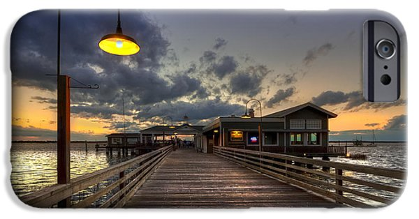 Night Lamp iPhone Cases - Dock lights at Jekyll Island iPhone Case by Debra and Dave Vanderlaan