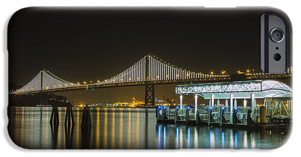 Bay Bridge iPhone Cases - Docks and Bay Lights iPhone Case by Bryant Coffey