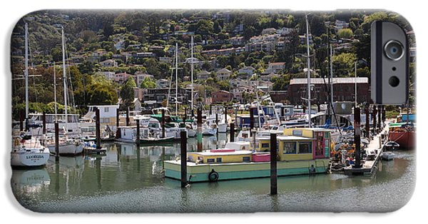 Sausalito Ca iPhone Cases - Docks at Sausalito California 5D22697 iPhone Case by Wingsdomain Art and Photography