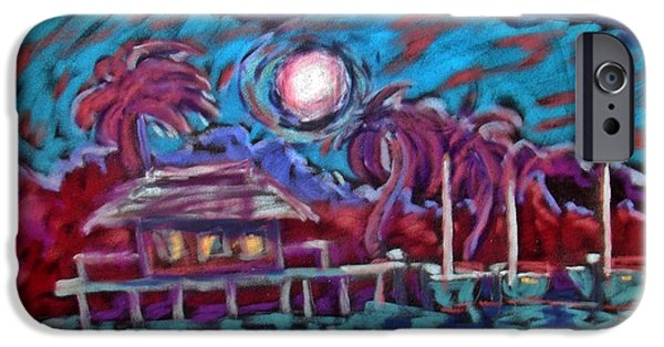 Book Pastels iPhone Cases - Dockside Moonlight iPhone Case by Joseph Hawkins