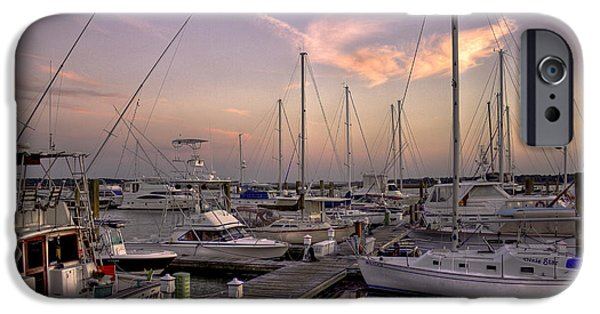 Sailboats In Harbor iPhone Cases - Dockside Sunset in Beaufort South Carolina iPhone Case by Reid Callaway