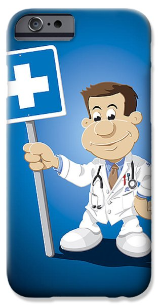 Doctor iPhone Cases - Doctor Cartoon Man Hospital Sign iPhone Case by Frank Ramspott