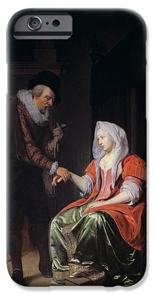 Medicine iPhone Cases - Doctor Taking A Young Womans Pulse iPhone Case by Michiel van Musscher
