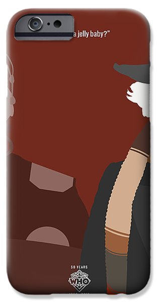 Doctor iPhone Cases - Doctor Who 50th Anniversary Poster Set Fourth Doctor iPhone Case by Jeff Bell
