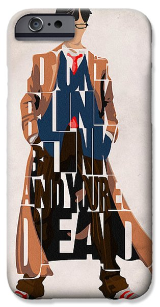 Pop Digital Art iPhone Cases - Doctor Who Inspired Tenth Doctors Typographic Artwork iPhone Case by Ayse Deniz