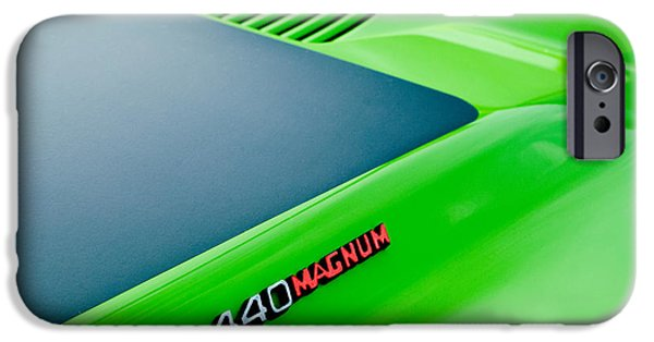 440 iPhone Cases - Dodge Challenger 440 Magnum RT Hood Emblem iPhone Case by Jill Reger
