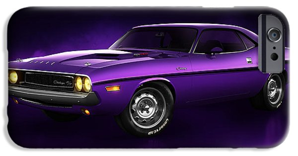 Old Cars iPhone Cases - Dodge Challenger Hemi - Shadow iPhone Case by Marc Orphanos
