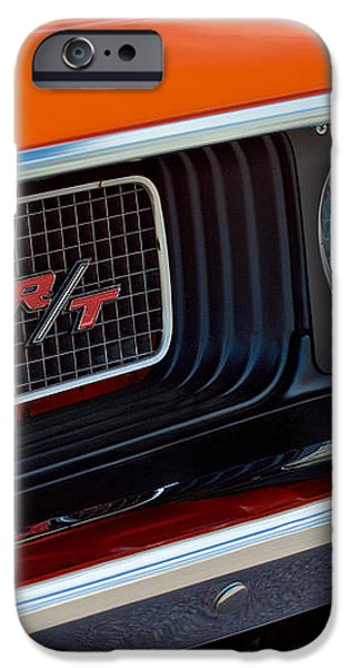 Dodge Challenger RT Grille Emblem iPhone Case by Jill Reger