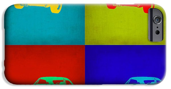 Concept Digital Art iPhone Cases - Dodge Charger Pop Art 2 iPhone Case by Naxart Studio