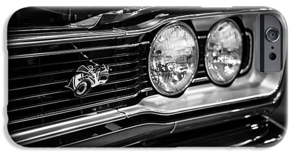 Coronet iPhone Cases - Dodge Super Bee Black and White iPhone Case by Paul Velgos