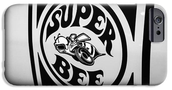 Sticker iPhone Cases - Dodge Super Bee Decal Black and White Picture iPhone Case by Paul Velgos