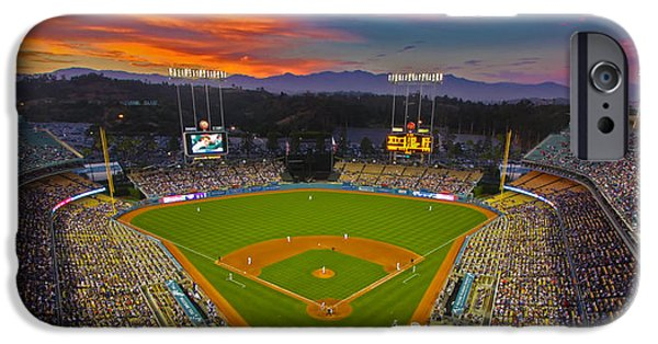 Baseball Stadiums iPhone Cases - Dodger Stadium iPhone Case by Kevin D Haley