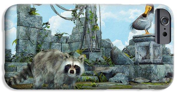 Raccoon Digital Art iPhone Cases - Dodo Meets Raccoon iPhone Case by Jutta Maria Pusl