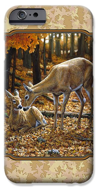 Autumn Scenes Paintings iPhone Cases - Doe and Fawn Autumn Leaves Pillow and Duvet Cover iPhone Case by Crista Forest