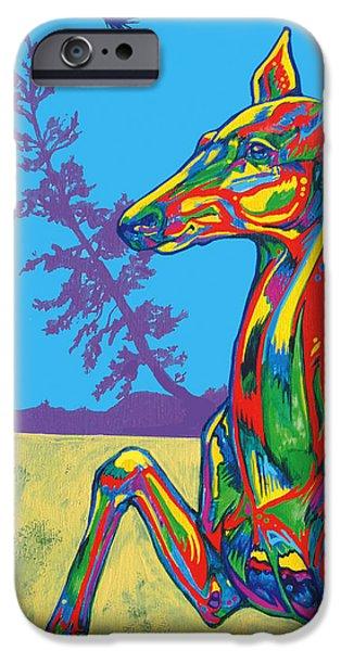 Vivid Colour Paintings iPhone Cases - Doe iPhone Case by Derrick Higgins