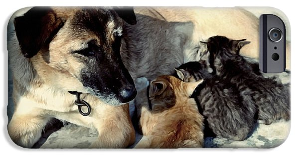 Dog Close-up Paintings iPhone Cases - Dog adopts kittens iPhone Case by Lanjee Chee