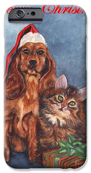 Puppy Love Greeting Cards iPhone Cases - Dog and Cat Merry Christmas   iPhone Case by Carol Wisniewski