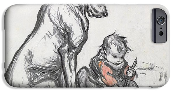 Enfants iPhone Cases - Dog and Child iPhone Case by Robert Noir