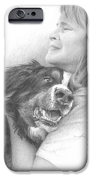 Owner Drawings iPhone Cases - Dog And Owner Pencil Portrait iPhone Case by Mike Theuer