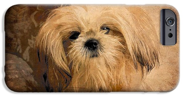 Dogs Digital Art iPhone Cases - Dog Art  iPhone Case by Aimelle