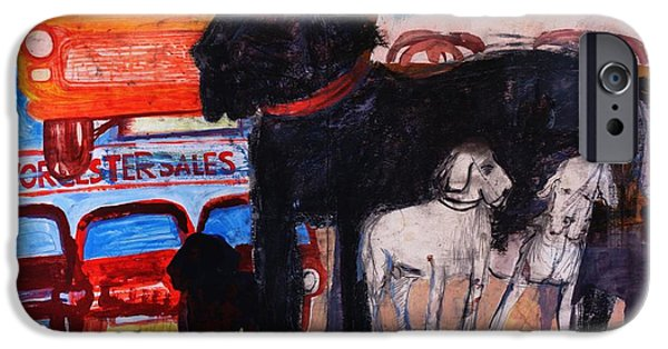 Stray iPhone Cases - Dog At The Used Car Lot, Rex Gouache On Paper iPhone Case by Brenda Brin Booker