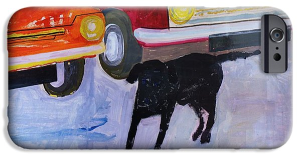 Stray iPhone Cases - Dog At The Used Car Lot, Rex With Red Car Gouache On Paper iPhone Case by Brenda Brin Booker