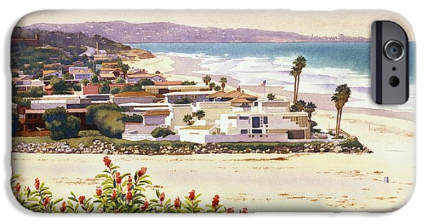 Mars Paintings iPhone Cases - Dog Beach Del Mar iPhone Case by Mary Helmreich